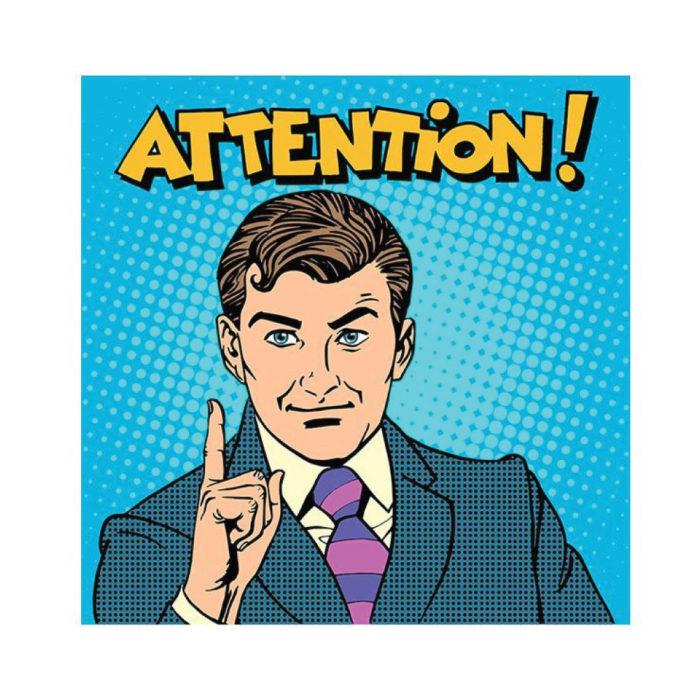 Acrylglasbild Pop Art und Cartoon Retro Attention quadratisches Bildformat