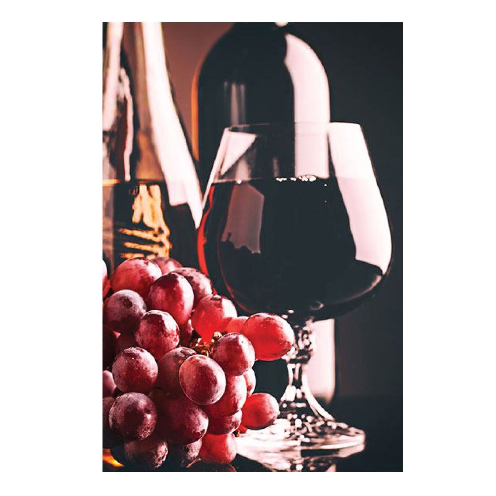Aluminiumbild mit Rotwein und Trauben italienisches Restaurant Motiv