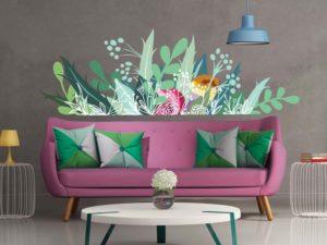 Wandtattoos im Esszimmer mit Blumen Muster, florales Motiv