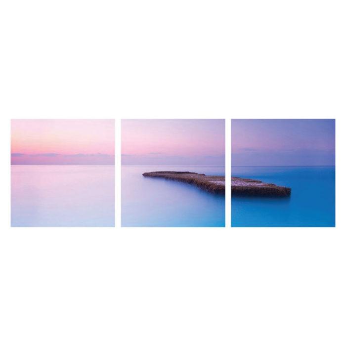 Hartschaumbild Ozean Ruhe Motiv 3 teilig Panorama quadratisch Bilder