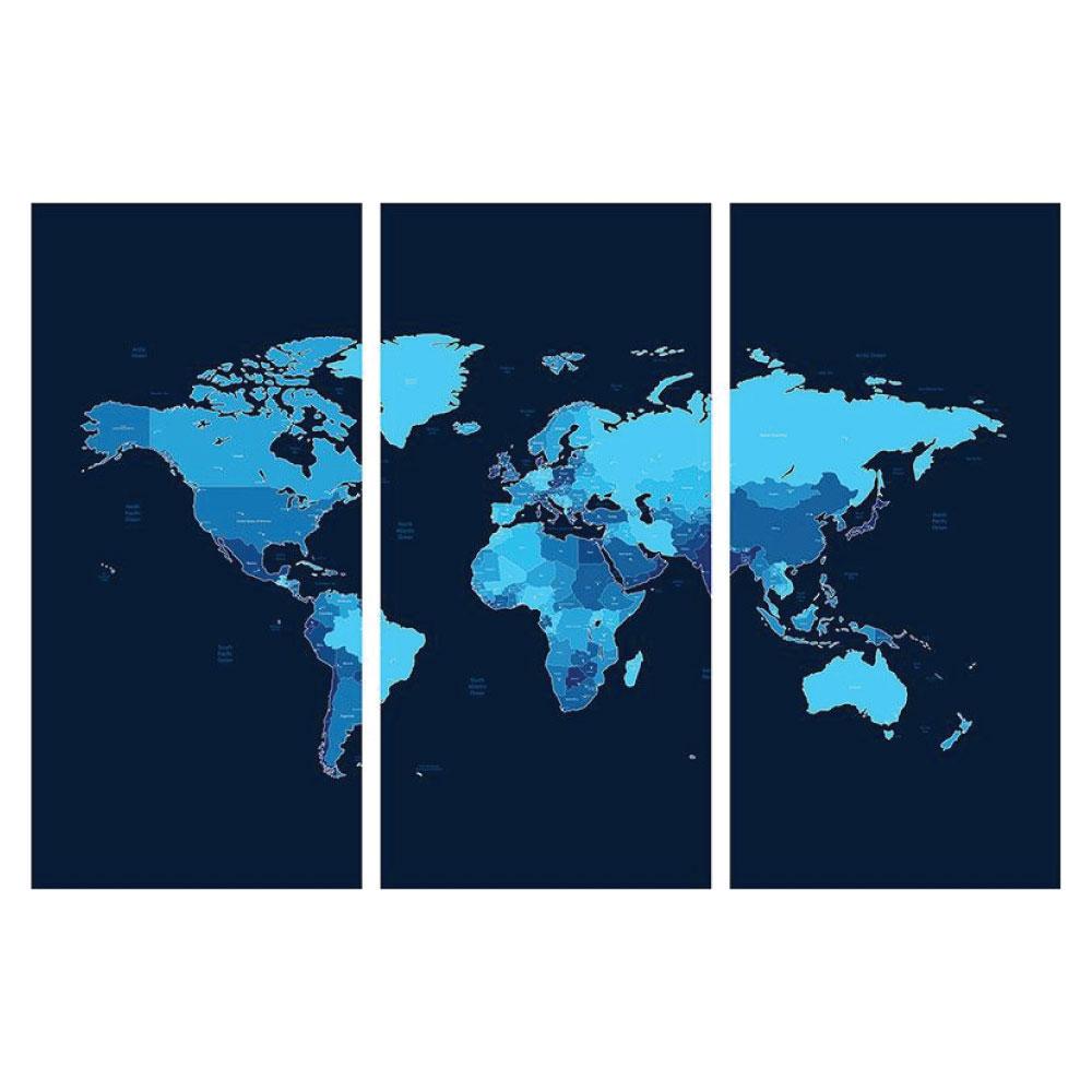 Leinwandbild Weltkarte Motiv 3 teilig Hochformat Bilder