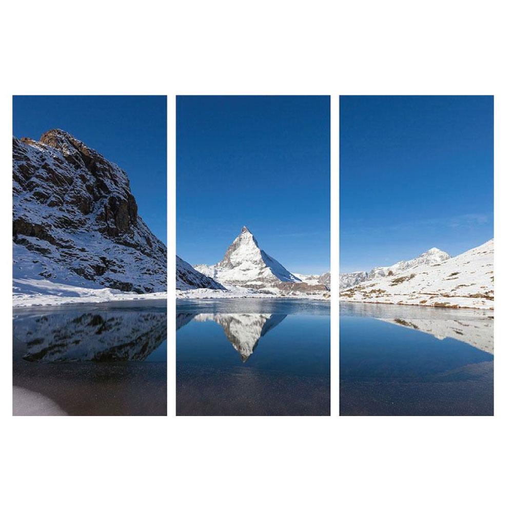 Metallic Bild Natur Berg Matterhorn 3 teilig Hochformat Bilder