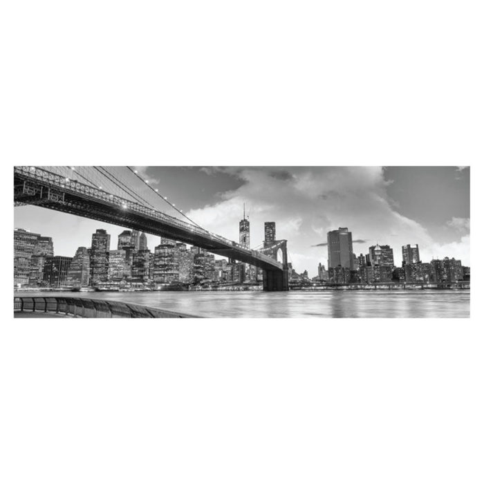 Metallic Bild Skyline Brooklyn Bridge Bild im Panorama Format