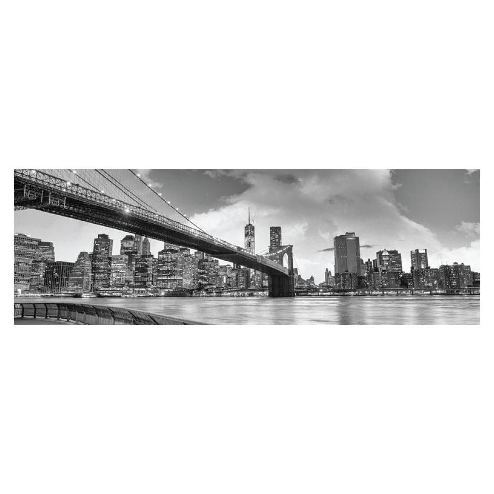 Metallic Bild Skyline Brooklyn Bridge Bild im Panorama Format
