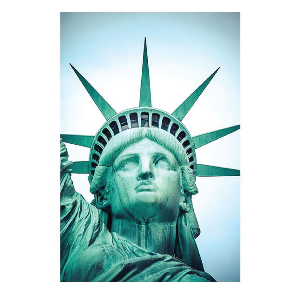 Metallic Bild Statue of liberty Büro im Hochformat drucken