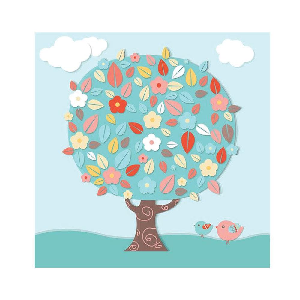 Poster Kinderzimmer Blumen Tier niedlich quadratisches Bildformat
