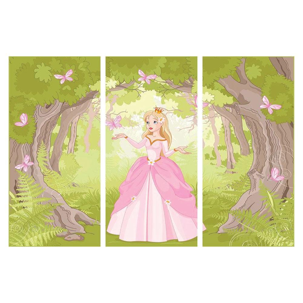 Poster Prinzessin Rosa Kinderzimmer 3 teilig Hochformat Bilder
