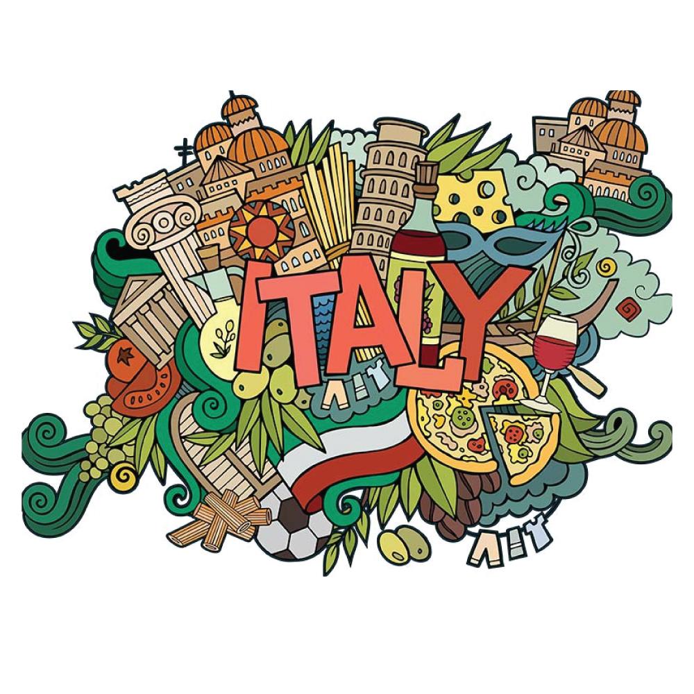 Wandtattoo Italien mit Pizza und Spaghetti italienisches Restaurant Motiv