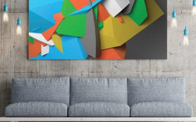 3D Wandtatto für das Wohnzimmer