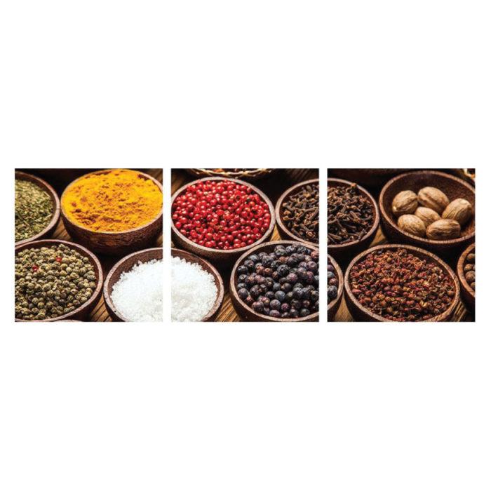 Leinwandbild mit asiatischen Gewürzen scharf gesund 3-teilig Panorama Bilder für die Küche oder Restaurant.