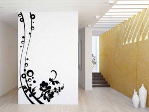 Wandtattoos für das Wohnzimmer modern mit Blumen Motiven