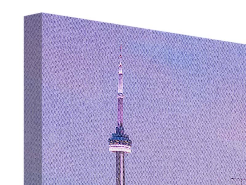 Leinwandbild Lila Skyline Toronto Nacht