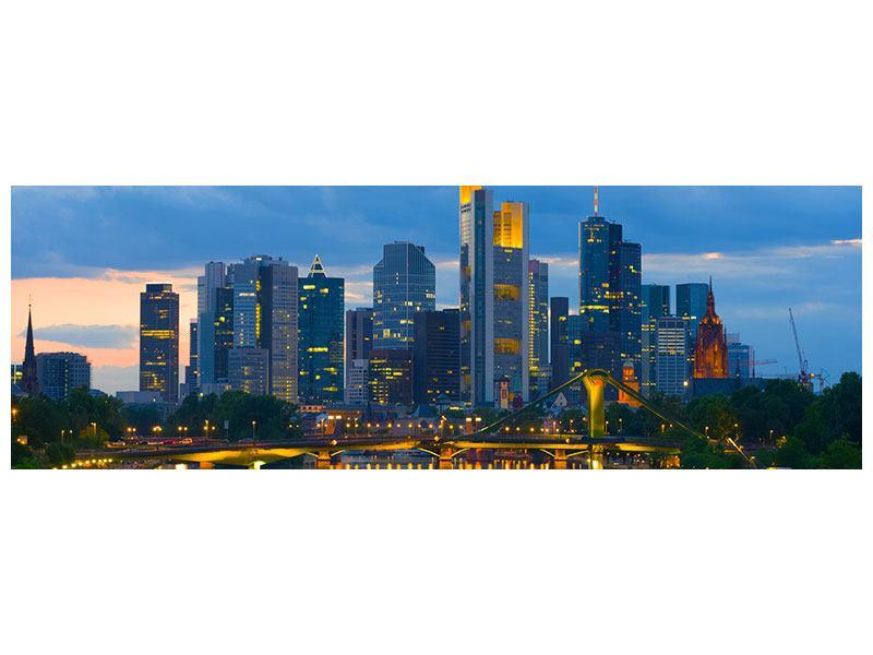 Blau Leinwandbild Panorama Skyline Frankfurt am Main