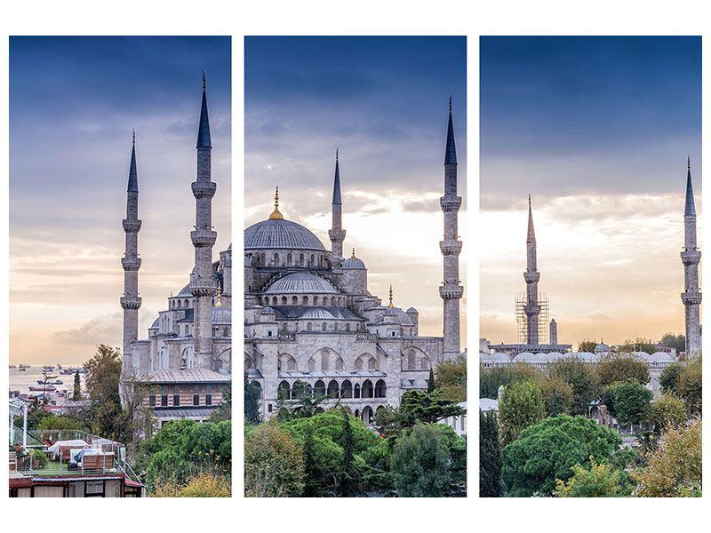 Das Leinwandbild Grau Istanbul Sultan Ahmed Moschee 3-teilig