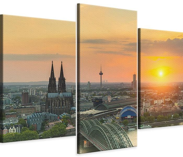 Leinwandbild 3-teilig Köln bei Sonnenuntergang