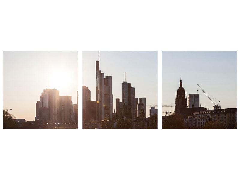 Leinwandbild 3-teilig Skyline Panorama Sonnenaufgang bei Frankfurt am Main