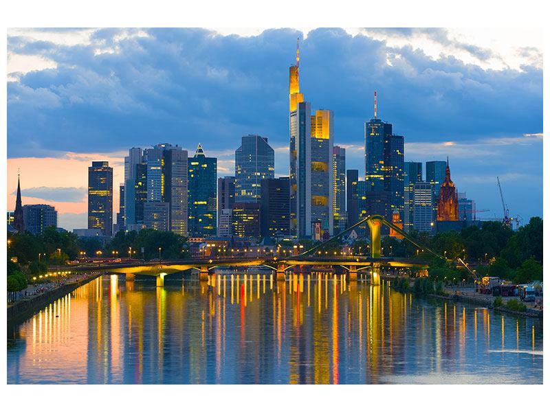 Leinwandbild Blau Skyline Frankfurt am Main