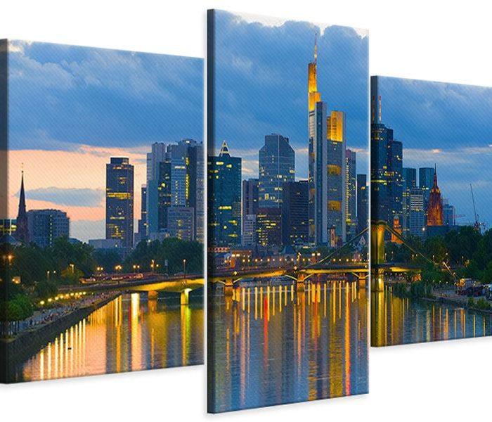 Leinwandbild Blau modern Skyline Frankfurt am Main 3-teilig