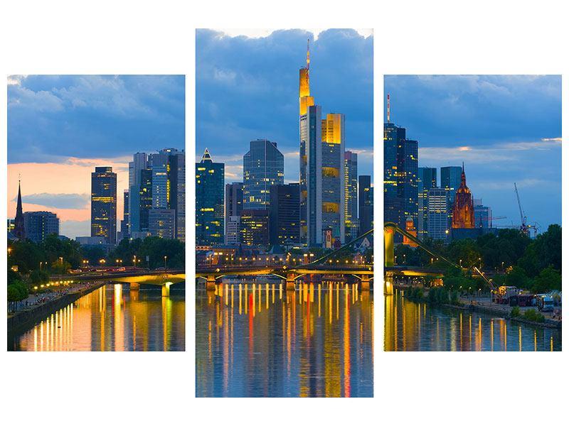 Leinwandbild Blau modern Skyline Frankfurt am Main