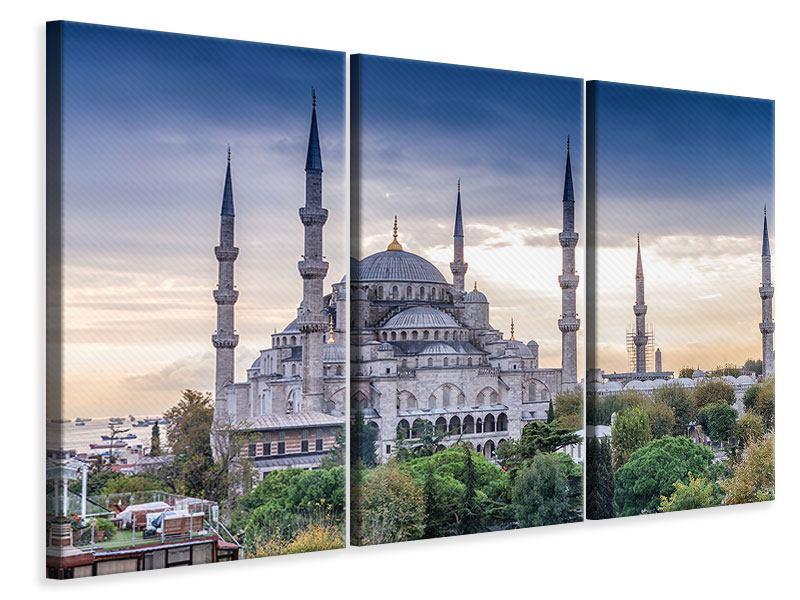 Leinwandbild Grau Istanbul Sultan Ahmed Moschee 3-teilig