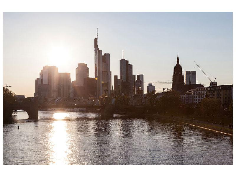 Leinwandbild Grau Skyline Sonnenaufgang bei Frankfurt am Main