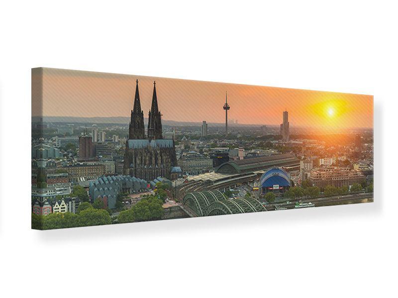 Leinwandbild Orange Skyline Köln Sonnenuntergang Panorama 1