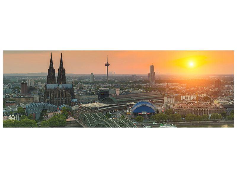 Leinwandbild Orange Skyline Köln Sonnenuntergang Panorama