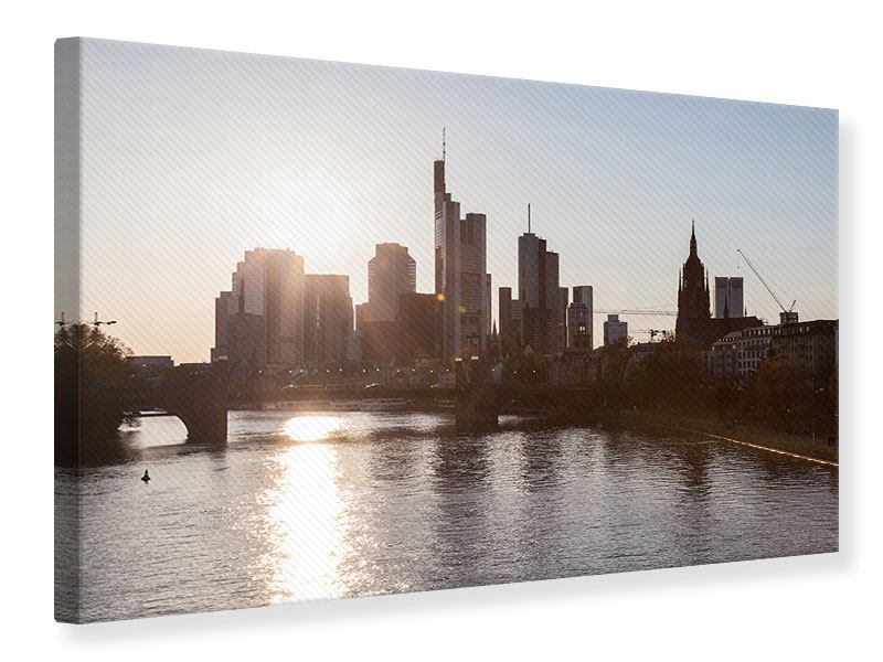 Leinwandbild Skyline Sonnenaufgang bei Frankfurt am Main