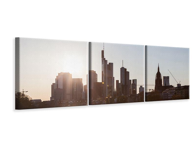 Panorama-Leinwandbild-3-teilig-Skyline-Sonnenaufgang-bei-Frankfurt-am-Main
