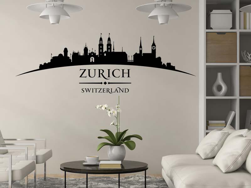 Schönes Wandtattoo Skyline Zürich