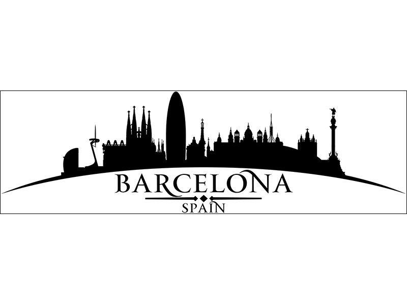 Wandtatto Skyline Stadt Barcelona