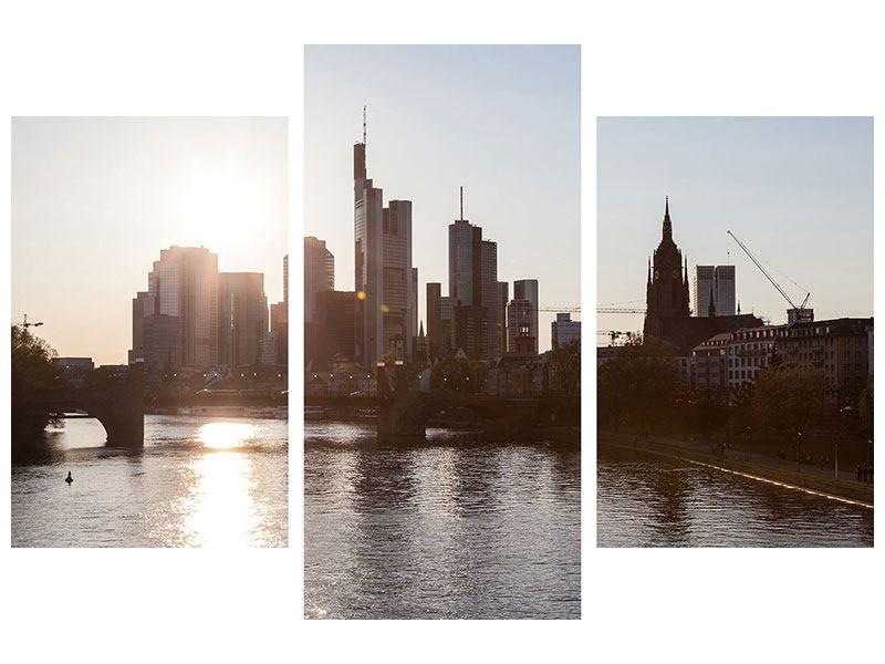Hochformat Leinwandbild-3-teilig-modern-Skyline-Sonnenaufgang-bei-Frankfurt-am-Main