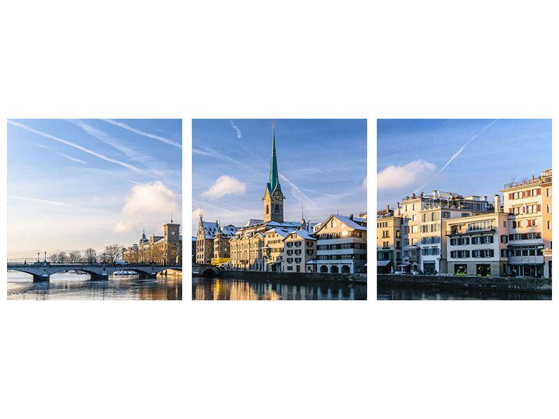 Leinwand Panorama Bild 3-teilig Brücke Zürich bei Tag
