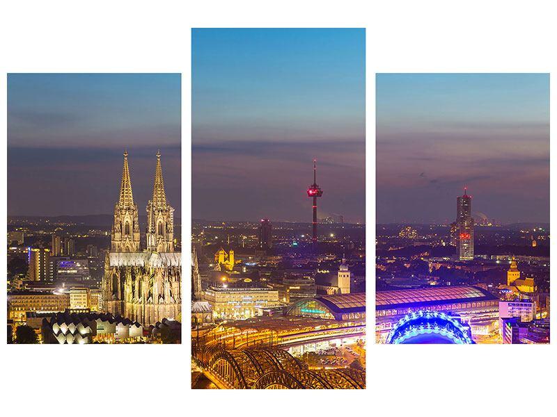 Leinwandbild 3-teilig Skyline Koelner Dom bei Nacht modern