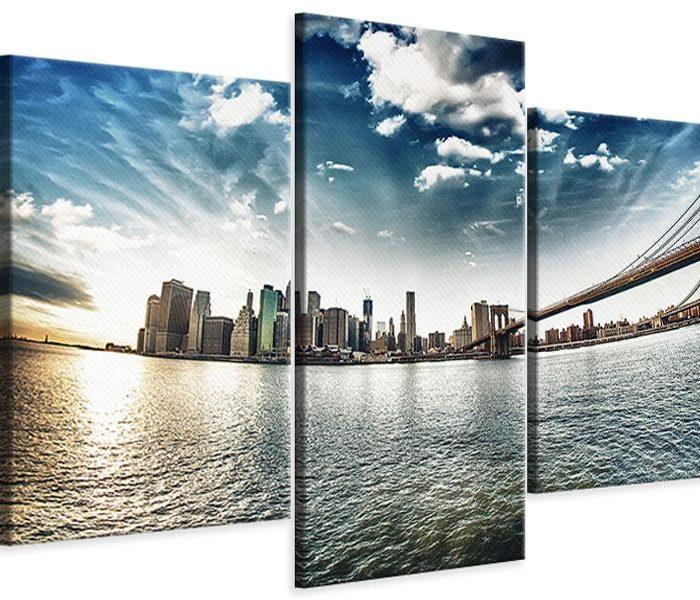 Leinwandbild 3-teilig modern Brooklyn Bridge From The Other Side