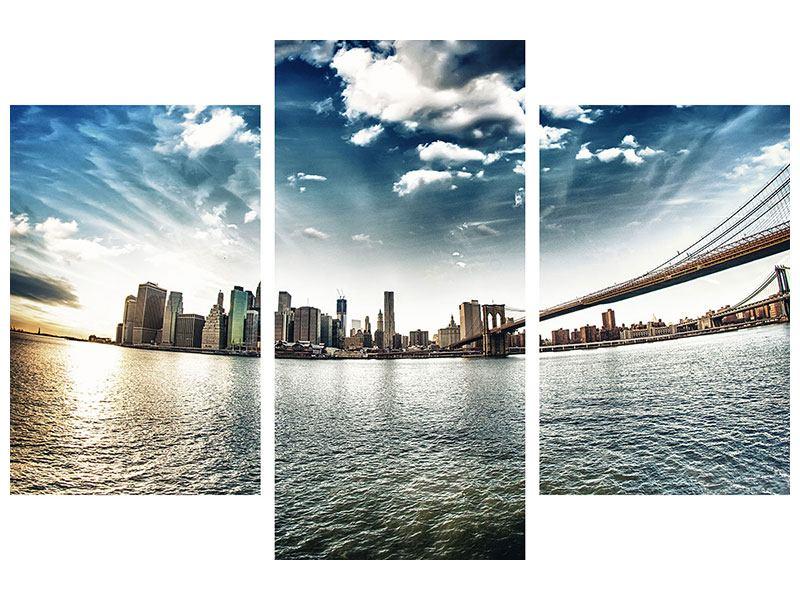 Leinwandbild 3-teilig modern Brooklyn Bridge From The Other Side Querformat
