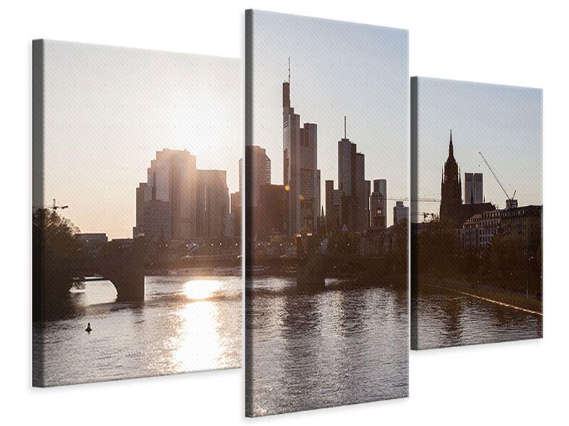 Leinwandbild 3 teilig modern Skyline Sonnenaufgang bei Frankfurt am Main