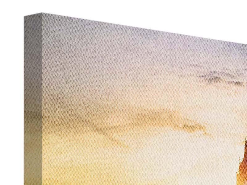 Leinwandbild Beige Skyline Big Ben im Sonnenuntergang