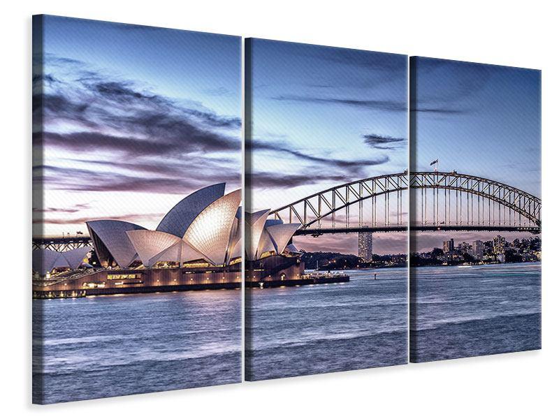 Leinwandbild Blau Skyline Sydney Opera 3-teilig