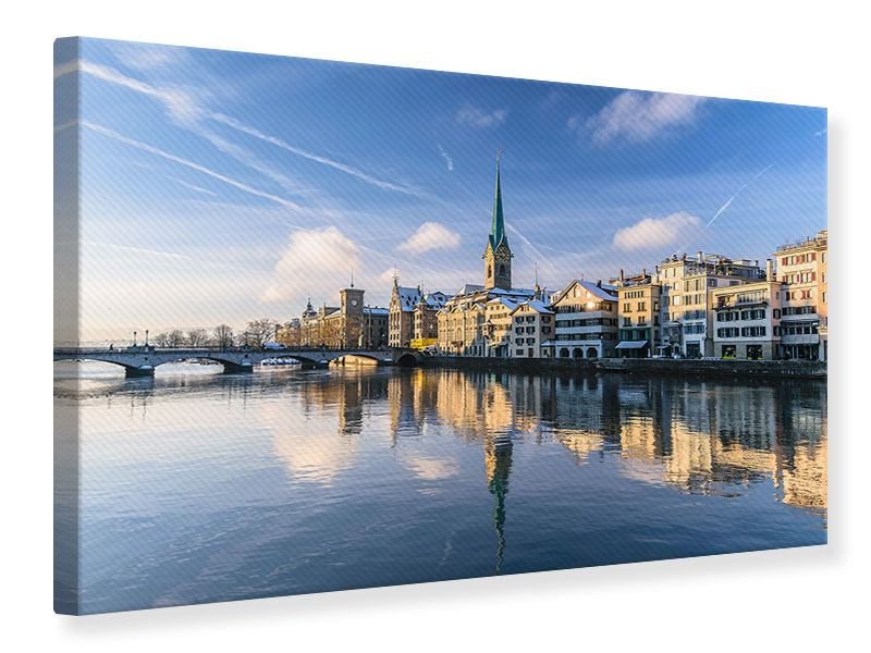 Leinwandbild Blau Zürich querformat