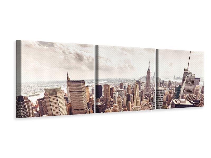 Leinwandbild Grau Manhattan 3-teilig
