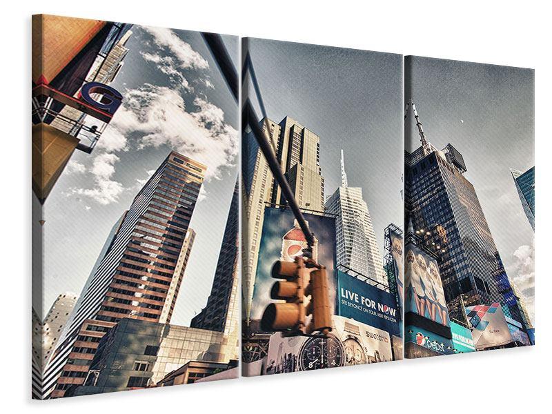 Leinwandbild Grau Times Square 3-teilig