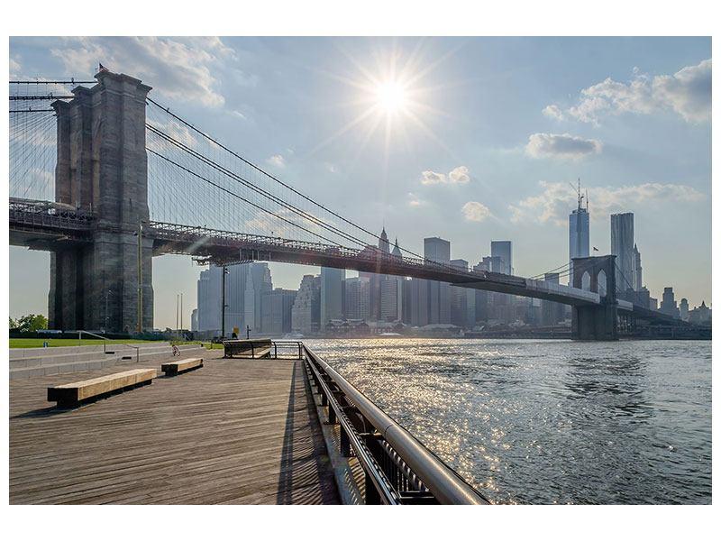 Leinwandbild Hellblau Brooklyn Bridge