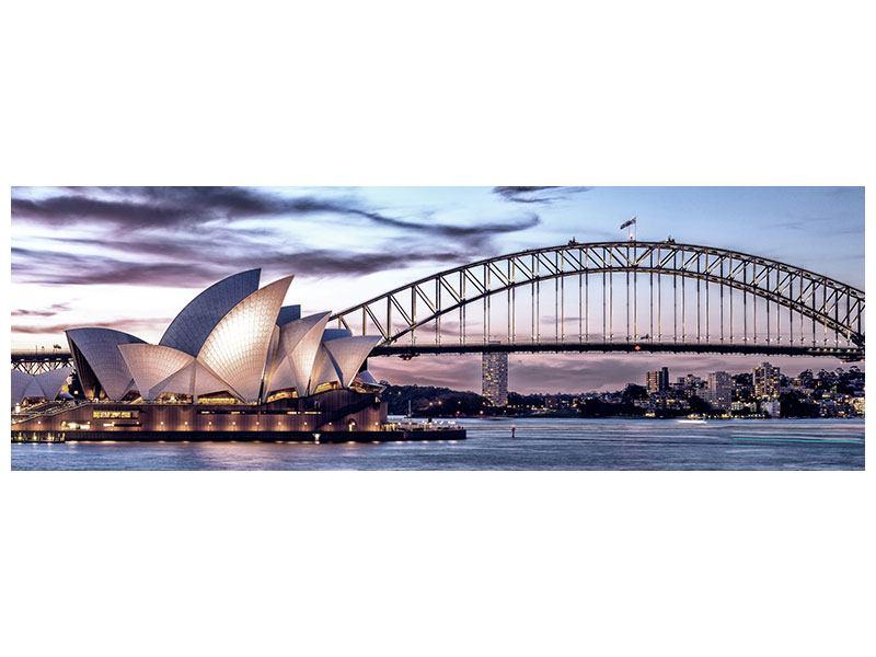 Leinwandbild Lila Panorama Skyline Sydney Opera House