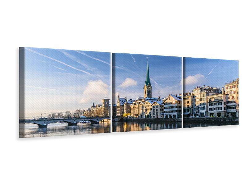 Leinwandbild Panorama 3-teilig Brücke Zürich bei Tag