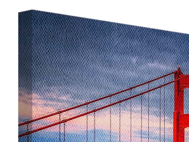 Leinwandbild Panorama Der Golden Gate Bridge bei Sonnenuntergang