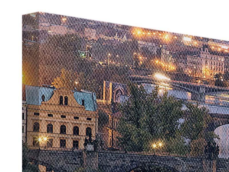 Leinwandbild Querformat Brücken bei Nacht in Prag