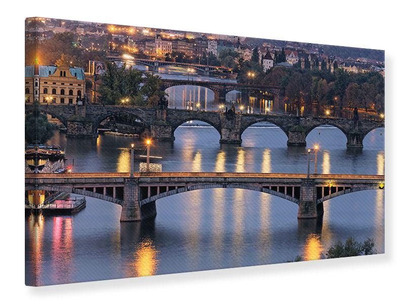 Leinwandbild Querformat Brücken in Prag bei Nacht