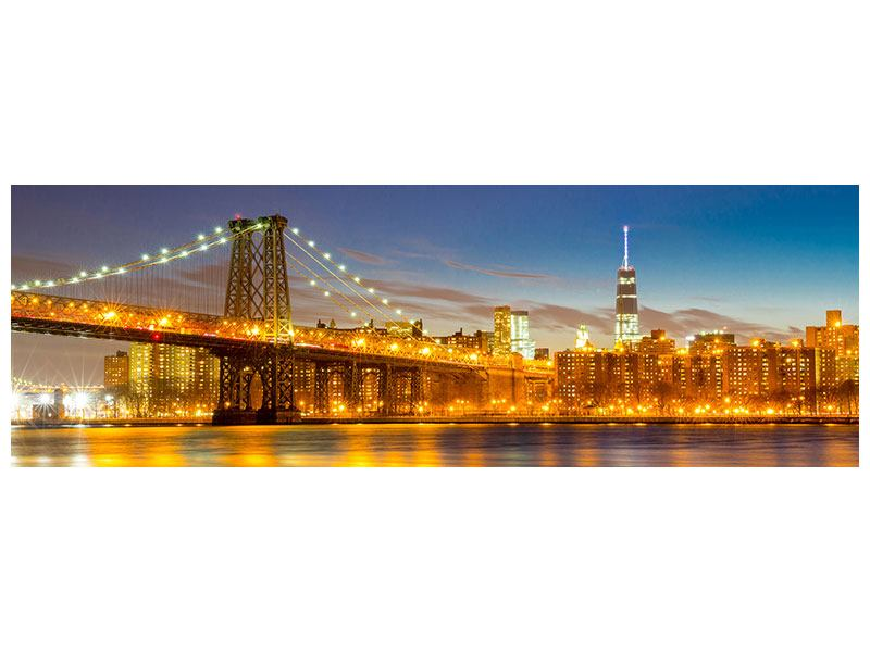 Leinwandbild Querformat Panorama Skyline NY Williamsburg Bridge