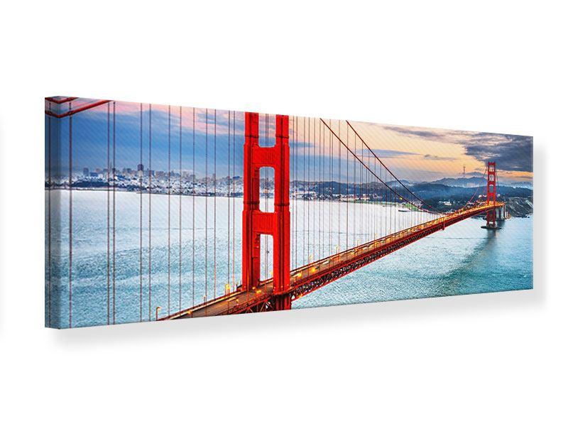 Leinwandbild Rot Panorama Der Golden Gate Bridge bei Sonnenuntergang